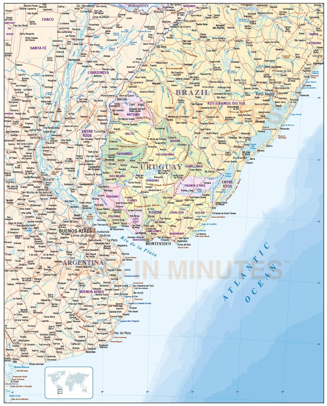 Uruguay Digital Vector Political Road Rail Map In Illustrator - Uruguay map atlas