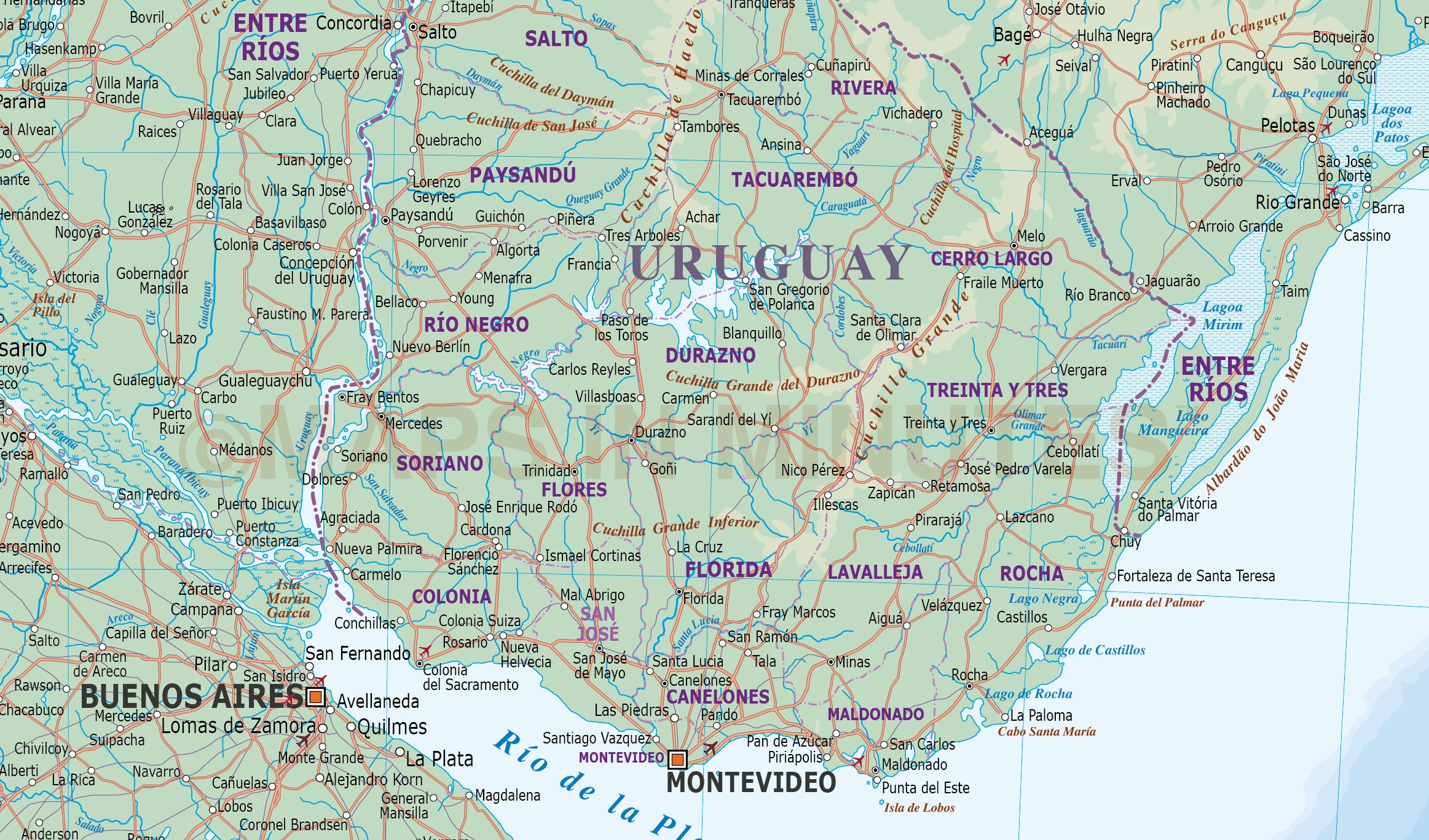 Uruguay digital vector political road rail map with land and
