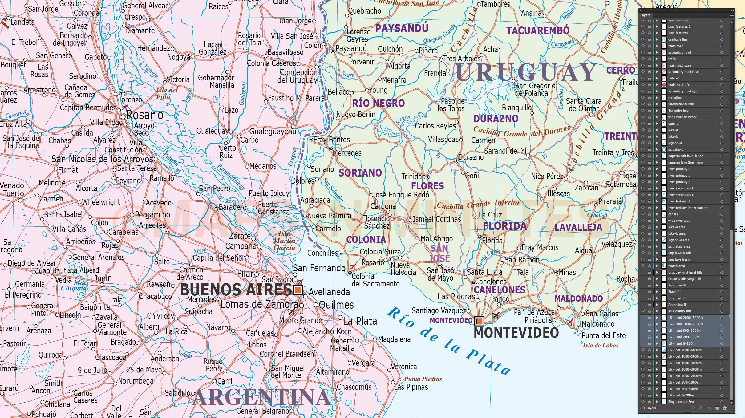 Uruguay digital vector political road rail map in Illustrator