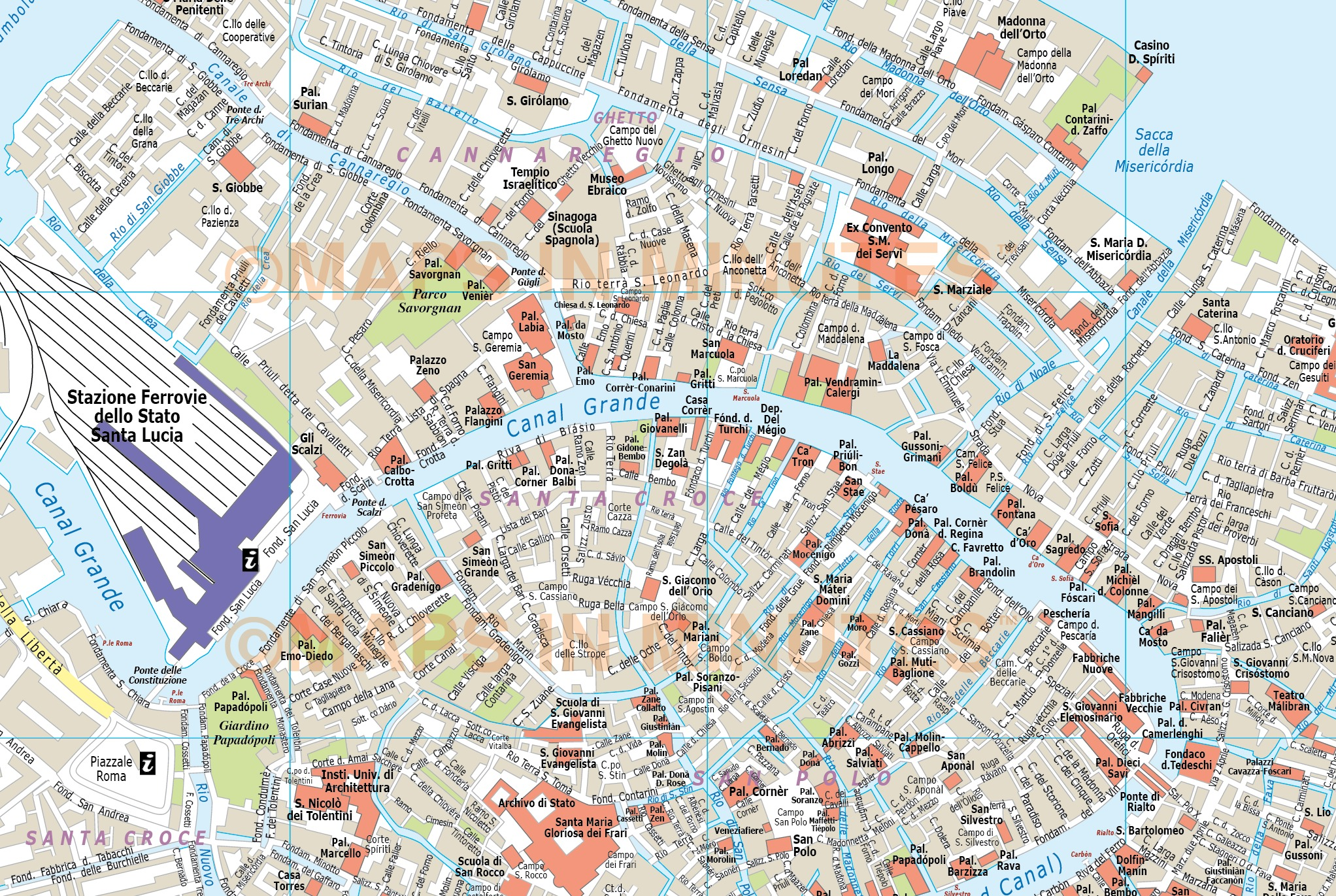 Digital vector venice city royalty free map in illustrator or pdf venice city map in illustrator cs or pdf format detail gumiabroncs Images