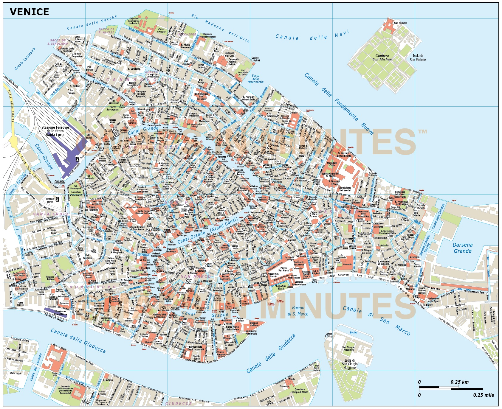 Digital vector Venice city royalty free map in illustrator