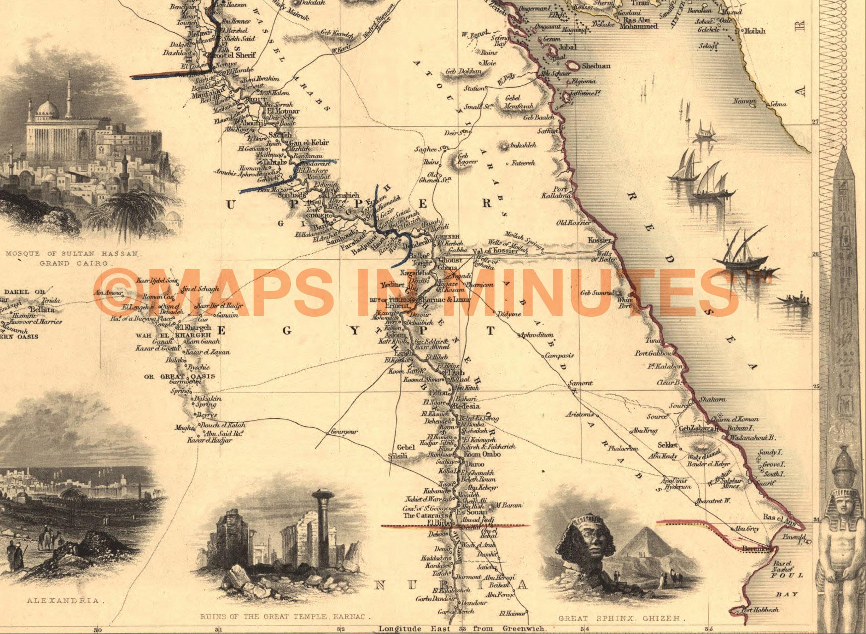 Vintage Map Montage Piece Collection Box Set - Vintage map of egypt