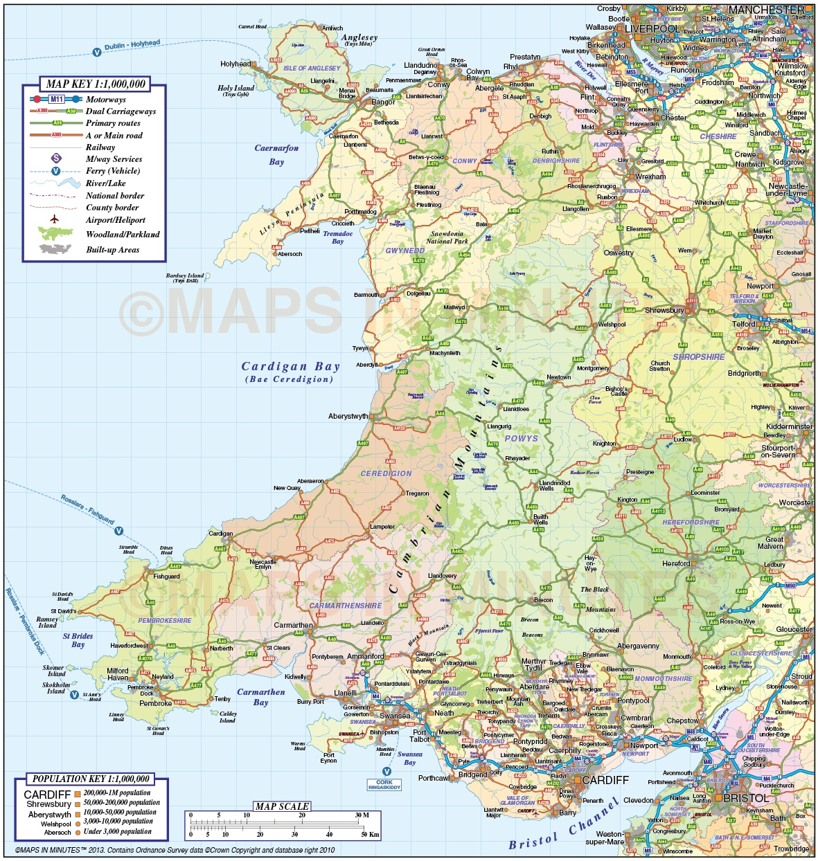 Wales 1st level County Road & Rail Map @1m scale in