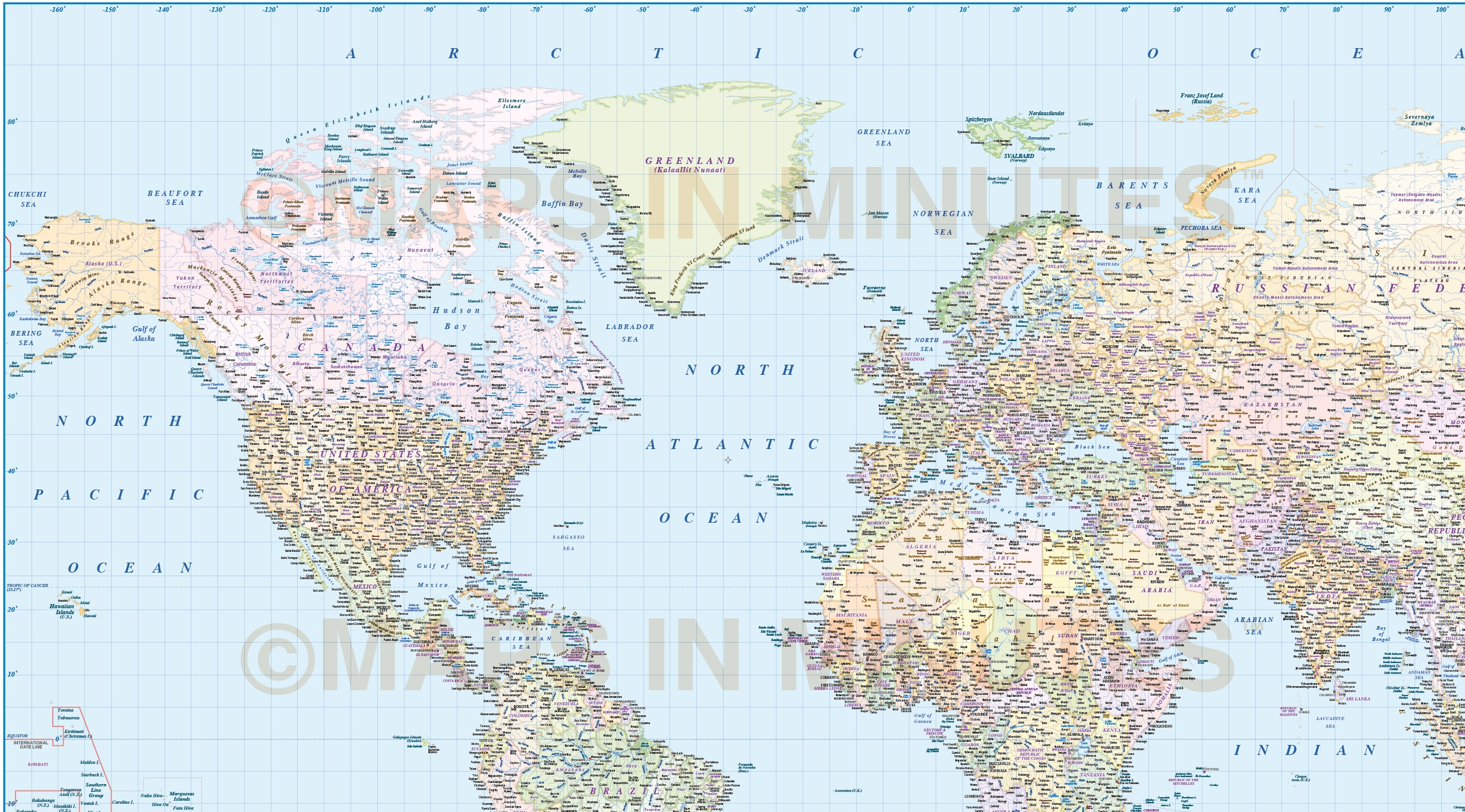 Digital vector world map with ocean floor contours and country digital vector map political gall world map with insets and ocean floor contours detail gumiabroncs Gallery