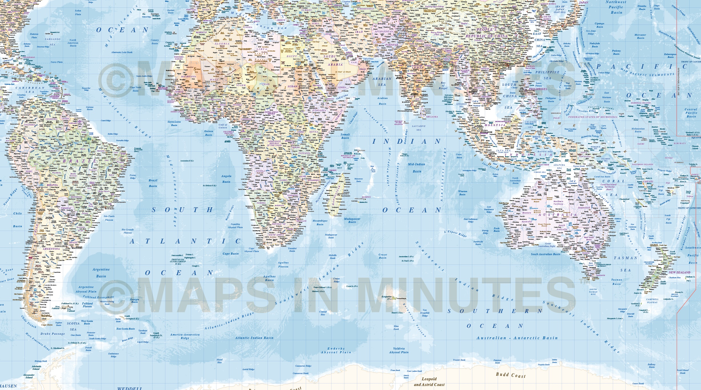 Digital Vector Map, Political Gall World Map With Insets And Ocean  Floor Contours Detail