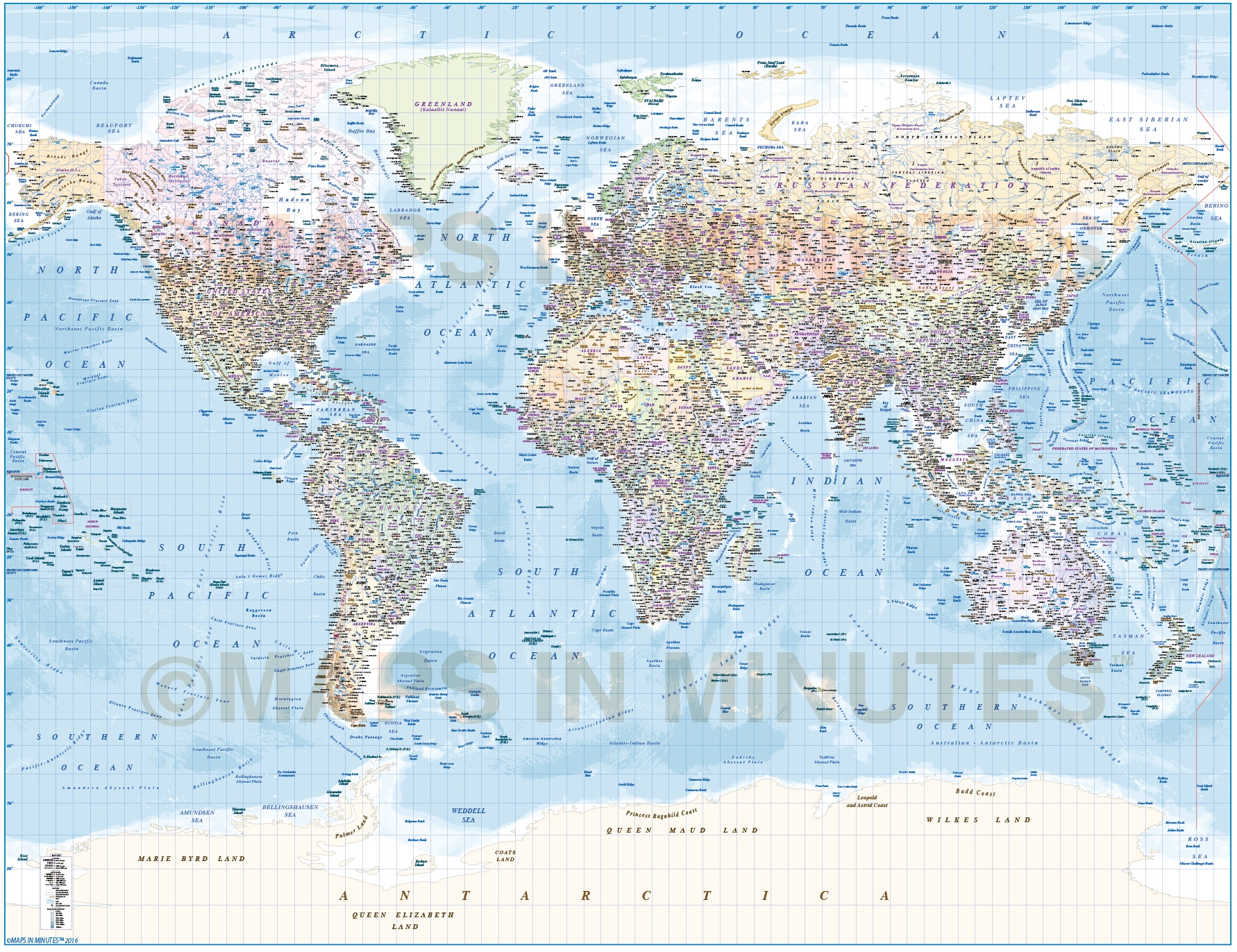 Digital Vector Map, Political Gall World Map With Insets And Ocean Floor  Contours ...