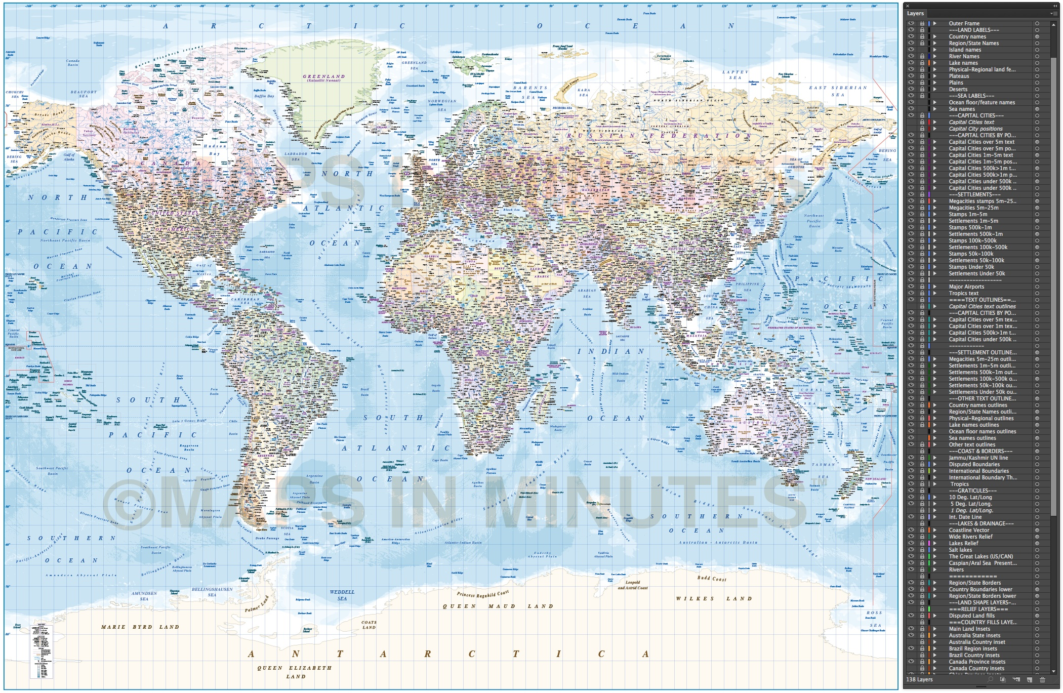 Digital vector world map with ocean floor contours and country digital vector map political gall world map with insets and ocean floor contours showing layering gumiabroncs Images