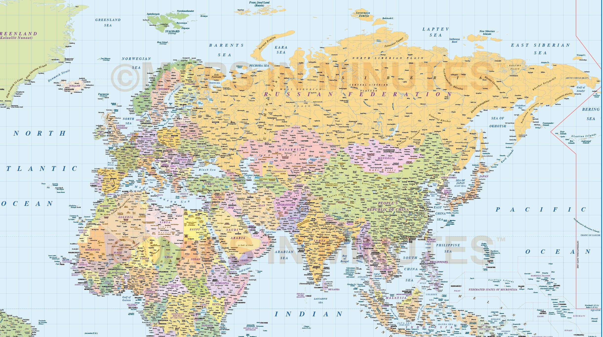 Digital vector world map political gall projection poster size uk more views gumiabroncs Gallery