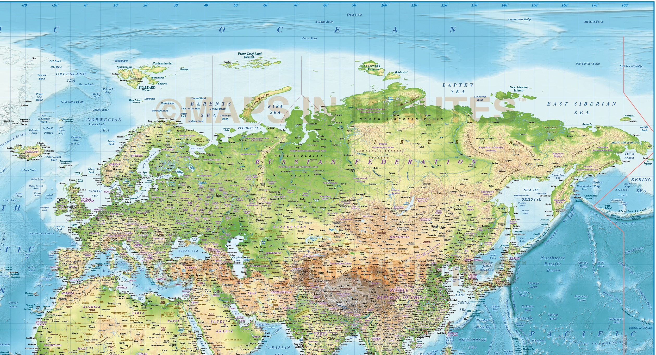 Digital vector political world map with relief terrain for land and vector world relief map europe to asia detail showing relief background gumiabroncs Images