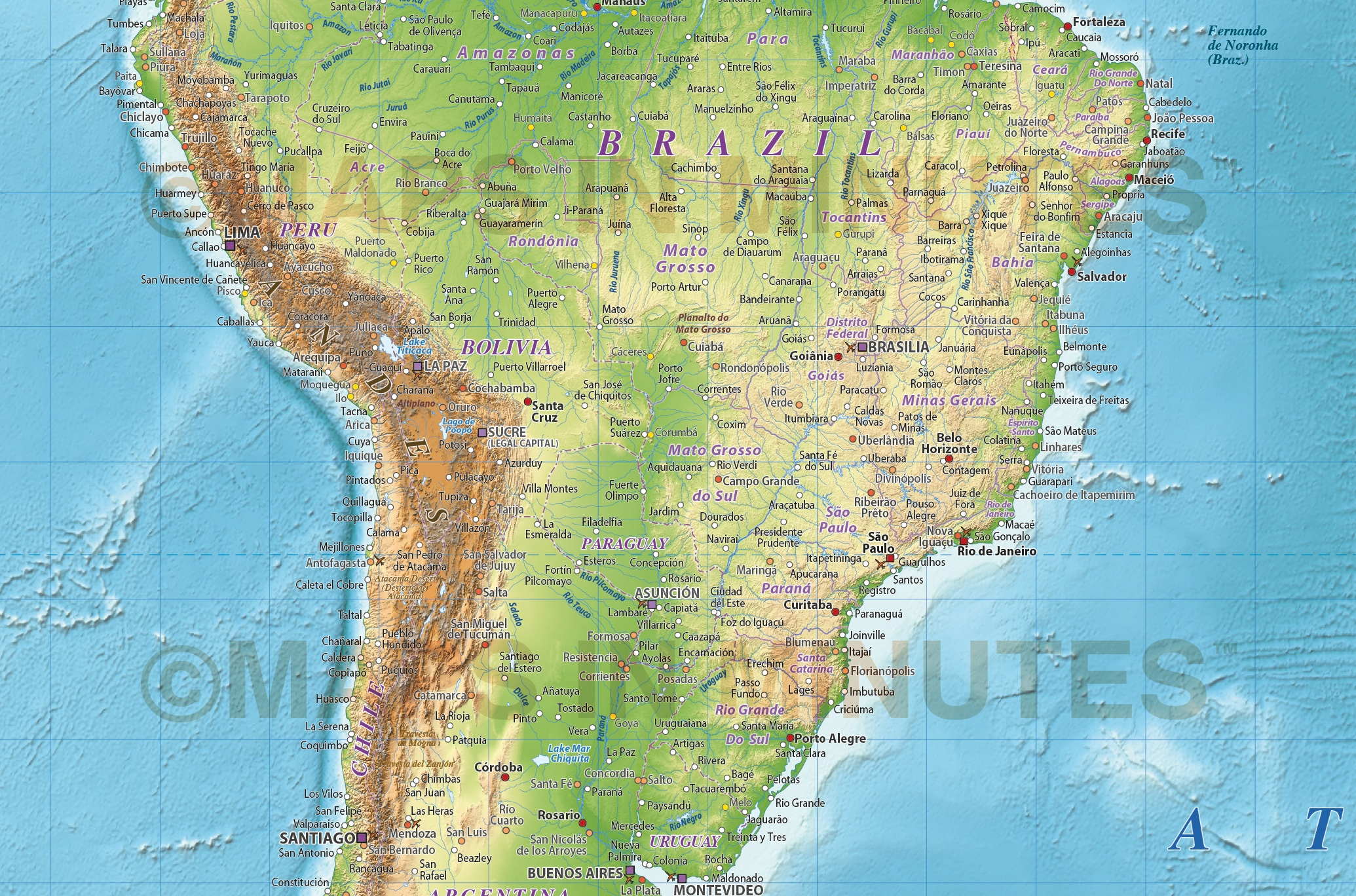 Digital Vector Political World Map With Relief Terrain For Land - South america relief map peru