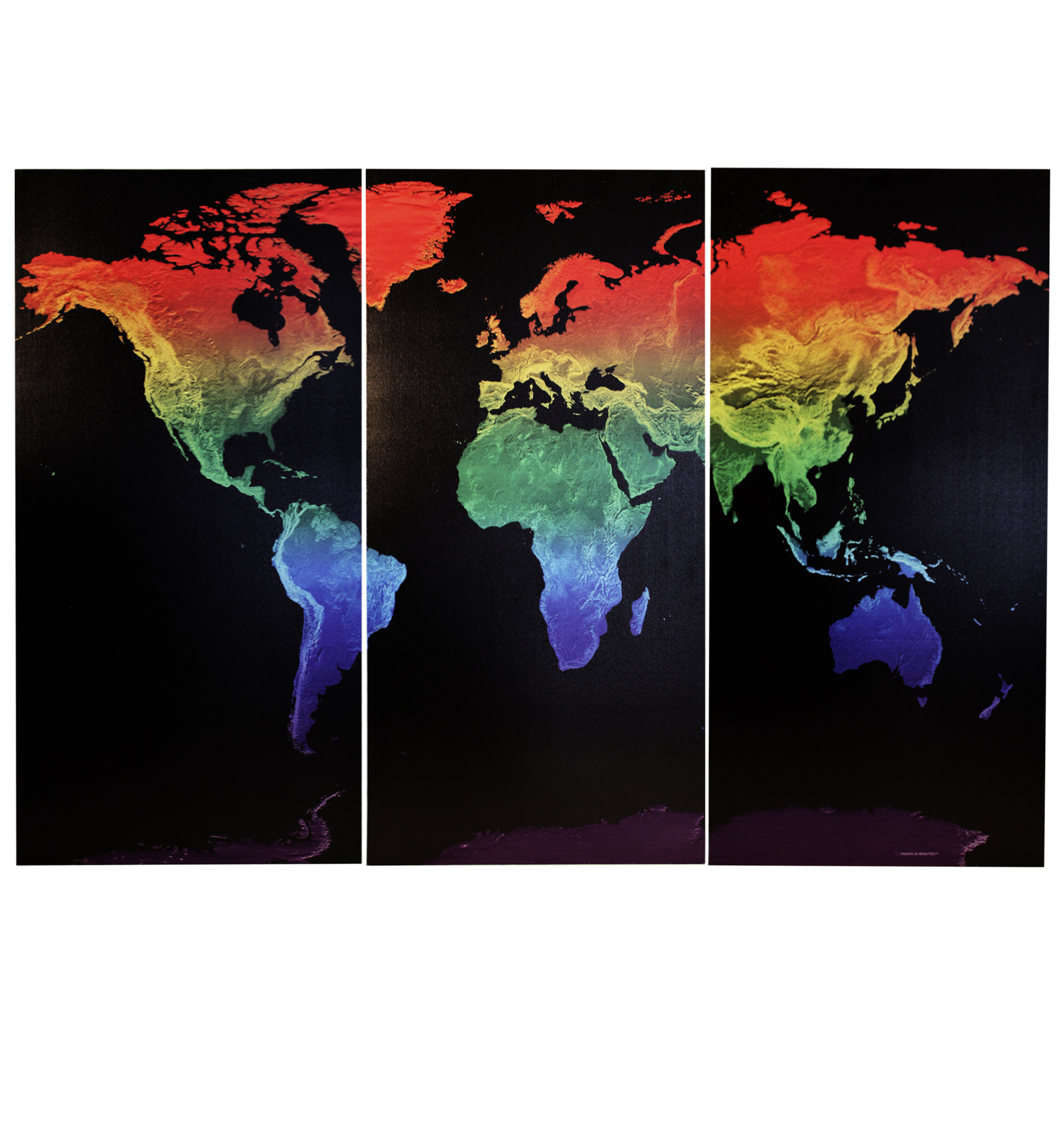 Lgbt Rainbow World Map Triptych Physical Wall Map Stretched Canvas