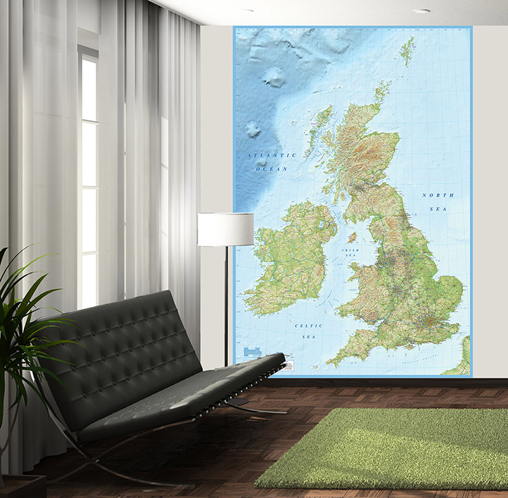 British Isles wall map