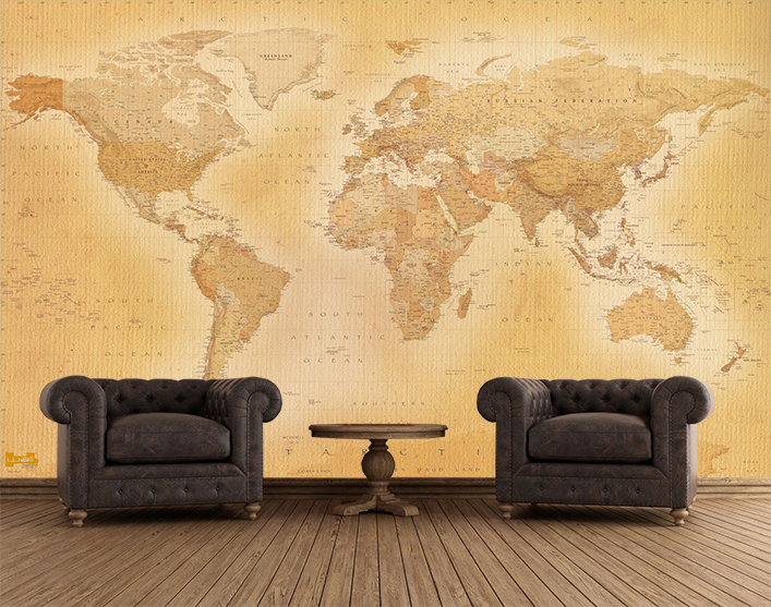 World map Vintage Tan colouring